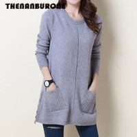 Casual Winter Women Sweater Pockets Dress Women Clothes Ladies Long Sleeve Knitted Bodycon Stretch Party Casual