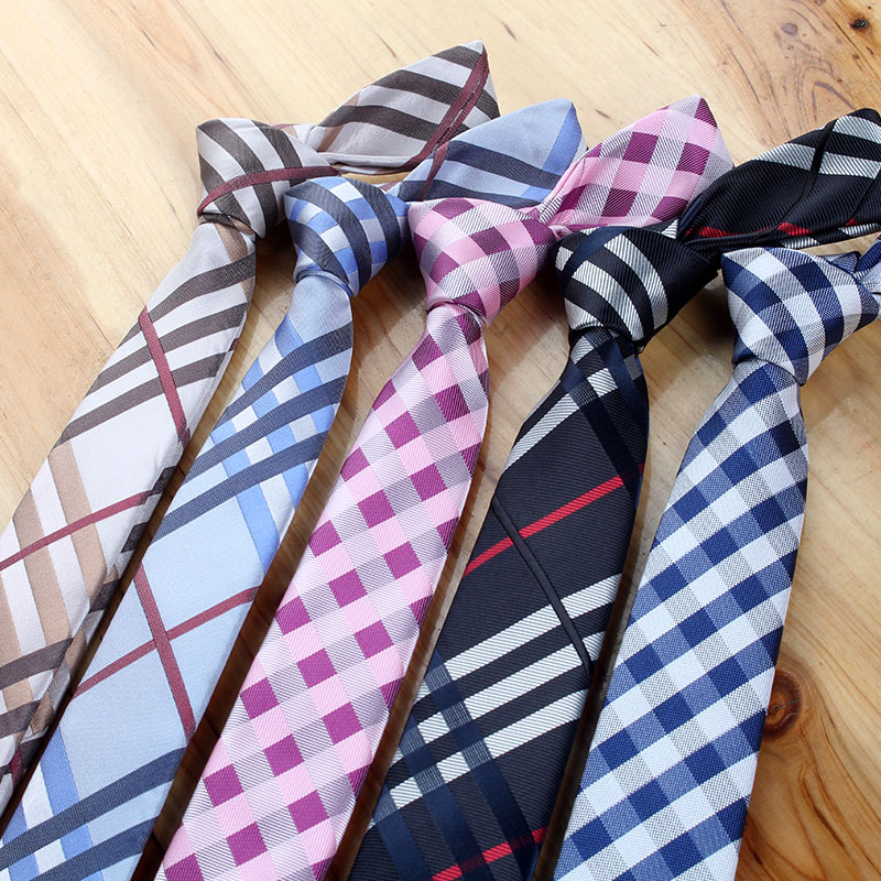 New Fashion Designer Men's High Quality 5CM 6CM 7CM Slim Ties For Men Plaid Necktie Student Interview Causal Party Neck Tie Men