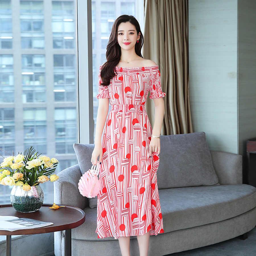Verano Vintage talla grande Boho Midi vestido 2019 nueva impresión de gasa playa Sexy ceñido vestido elegante mujer sin hombros Vestidos