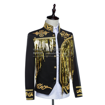 New Men Palace Prince Clothes Sequins Embroidered Garments Jacket Tassel Singer Stage Costume Drama Palace Formal Dress Blazers