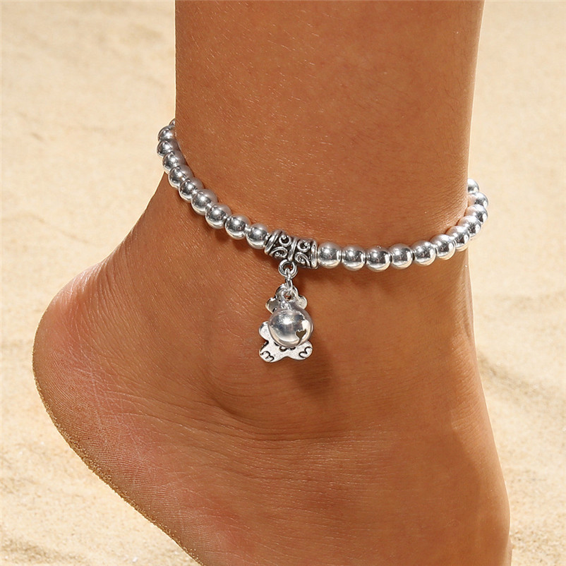 NEW Beads anklets for women Ankle Bracelet Double Chain Bell And Bear Anklet Jewelry Beach Sandals Pulseras Tobilleras Y17#N (4)