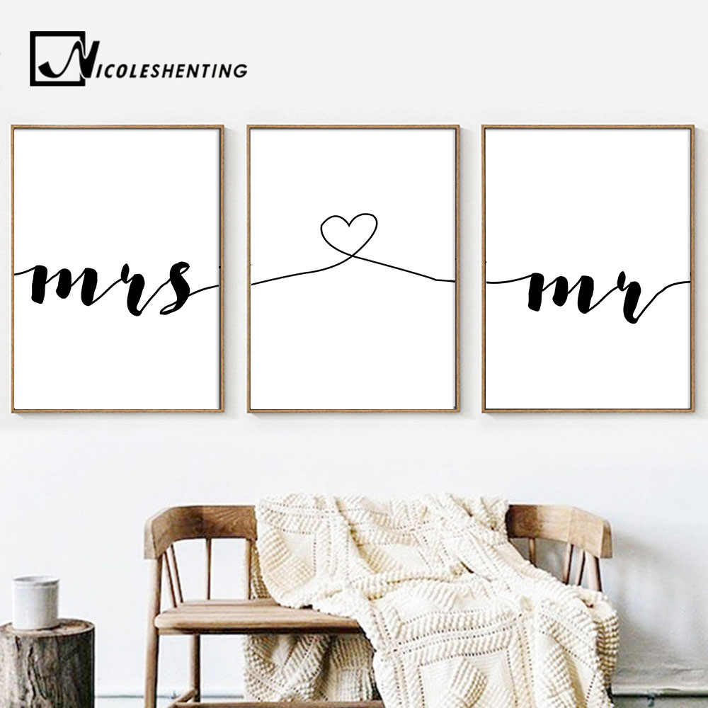 Mr Mrs Family Simple Quotes Wall Art Canvas Poster Minimalist Print Couple Anniversary Painting Picture for Living Room Decor