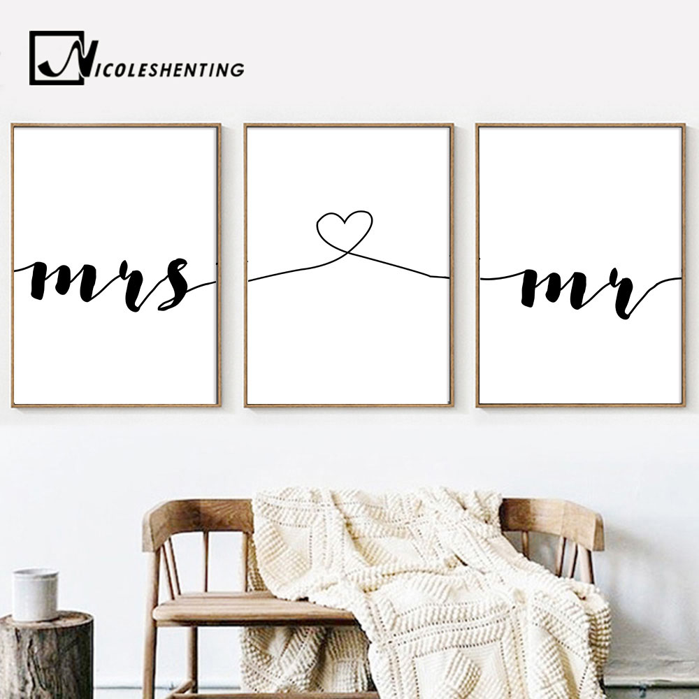 Mr Mrs Romantic Family Simple Quote Wall Art Canvas Poster