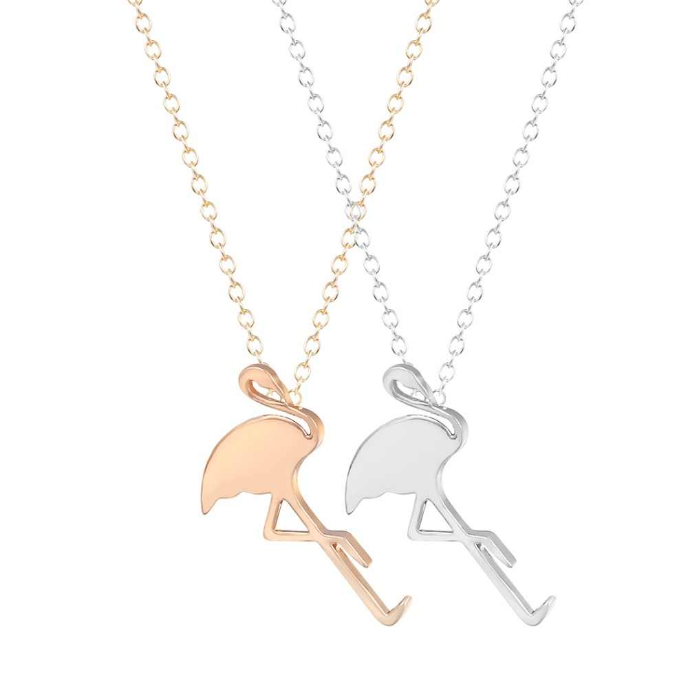 QIAMNI New Style Hot Flamingo Necklace Unique Pendant Collares Fashion Jewelry Gift Necklace for Girls and Women