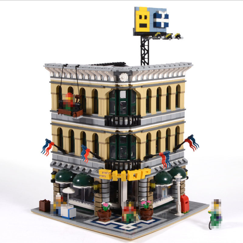 2232pcs LEPIN 15005 City  Creator Grand Emporium Model Building Blocks Educational Gifts DIY Kits Brick Toys Compatible 10211 lepin 24021 city creator 3 in 1 island adventures building block 379pcs diy educational toys for children compatible legoe