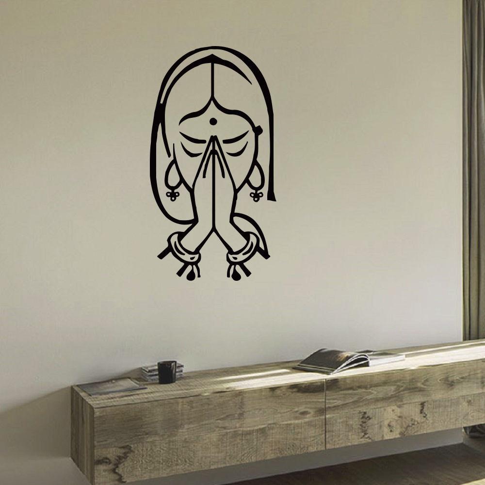 E205 Namaste Indian Yoga Namaste Design Murals Vinyl Art Vinyl Mural ...