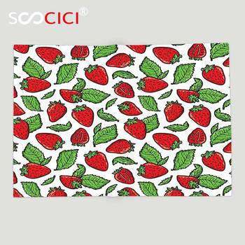 Custom Soft Fleece Throw Blanket Fruit Juicy Strawberries with Leaves Yummy Food Organic Charming Sweets Graphic Design Red Fern