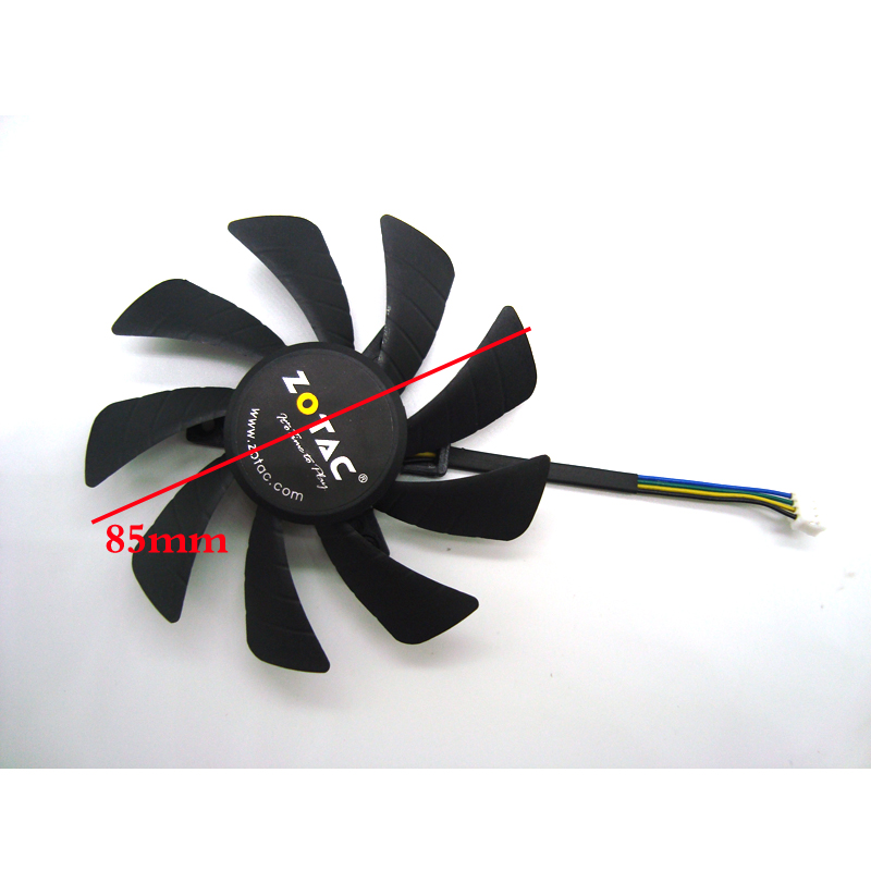 New 85MM T129215SH 4Pin Cooler <font><b>Fan</b></font> Replacement For <font><b>ZOTAC</b></font> <font><b>GTX</b></font> 1060 <font><b>960</b></font> GTX1060 3GB ITX mini Graphics Video Card Cooling <font><b>Fans</b></font> image