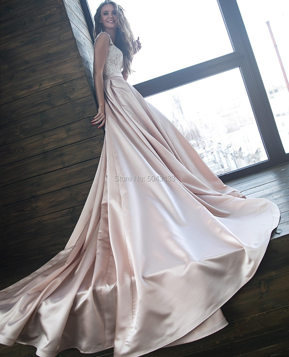Image 2 - Sexy Off The Shoulder Satin Wedding Dresses Romantic Lace Applique Bridal Gowns with Sleeves Chapel Train Bride Dress 2019-in Wedding Dresses from Weddings & Events