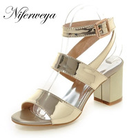 New sexy silver summer women shoes Big size 33-45 fashion Peep Toe high heels Buckle Strap Gladiator sandals zapatos mujer gold