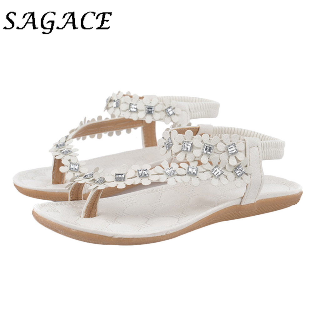 SAGACE Rhinestone Shoes Flat-Sandals Women Soft Casual Rubber