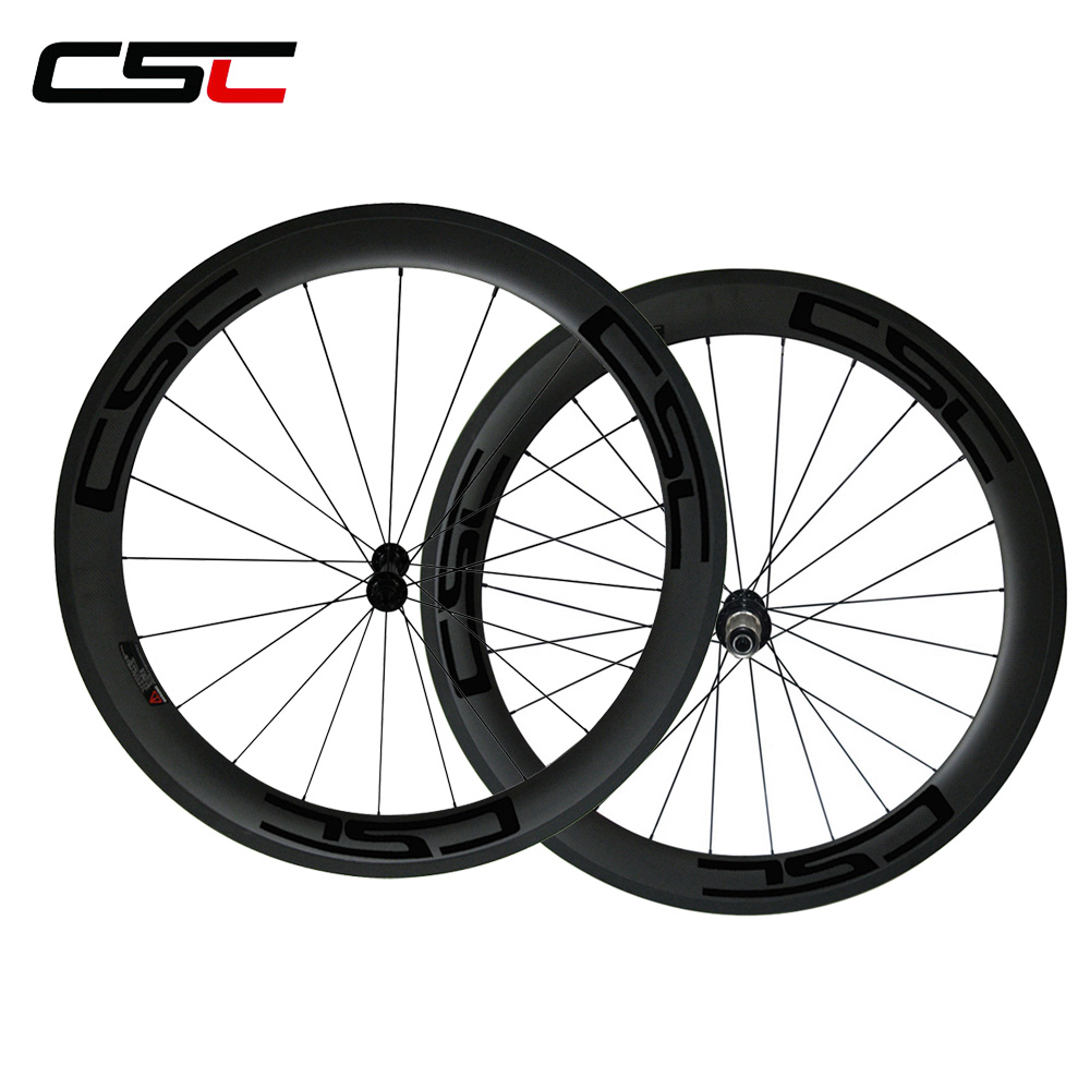 CSC Only 1580g 25mm width U Shape Ceramic Bearing hub 60mm clincher carbon road bicycle wheels