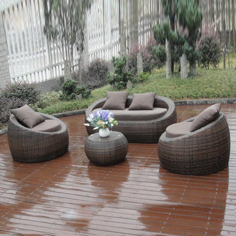 4-pcs PE Wicker Poly Rattan Pool Furntiure Pastoralism Home Indoor / Outdoor Rattan Sofa For Living Room