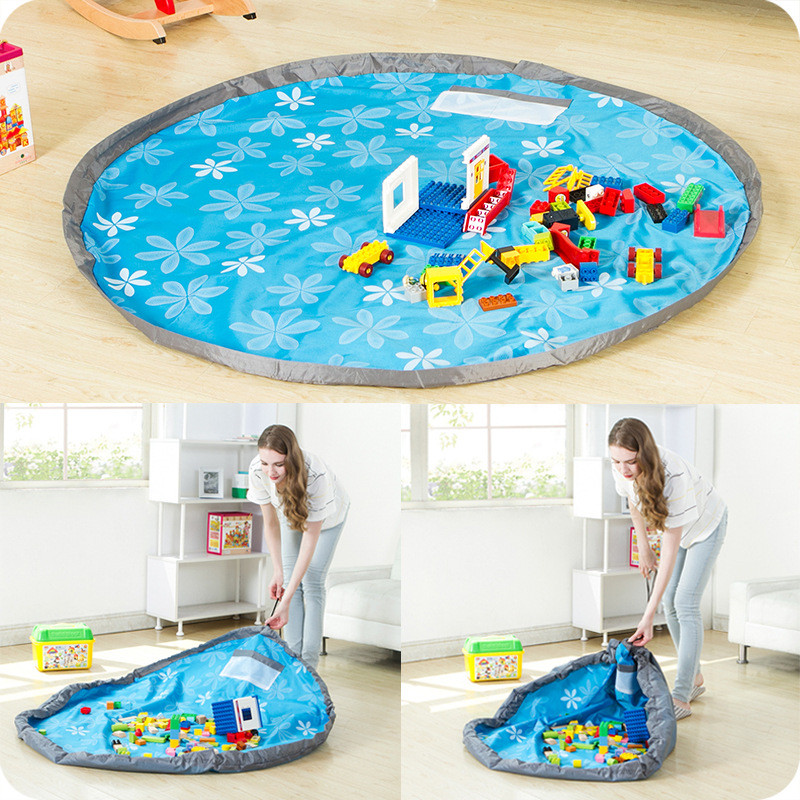 150cm Round Kids Toy Storage Bag Portable Play Mat Lego Storage Blanket For Toy Baby Playing Floor Blanket Mat Travel Picnic Mat