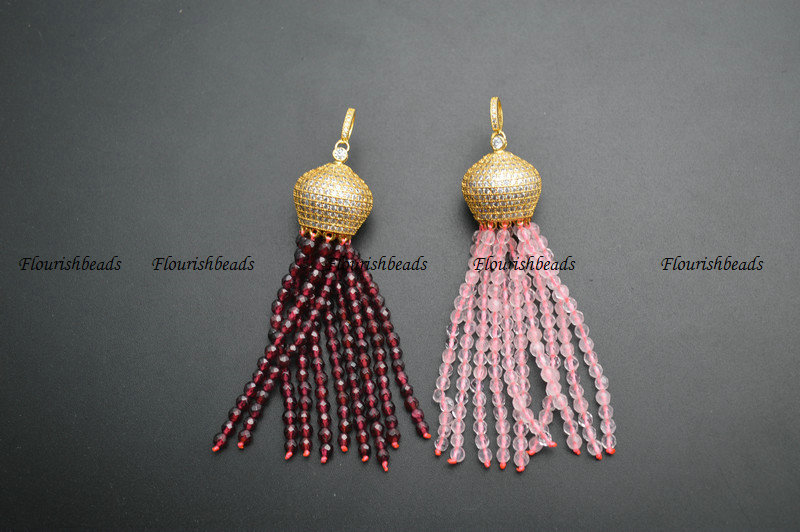 Natural Faceted 3mm Garnet / Rose Quartz / White Howlite Turquoise Round Seed Beads Tassel Pendants Paved CZ Metal Crown Cap