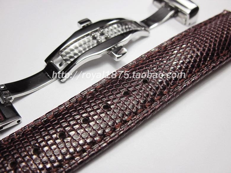 Quality handmade lizard leather strap 18mm / 21mm / 22mm calfskin primer Butterfly buckle brown leather strap lizard сандали hike 36 feel black grey
