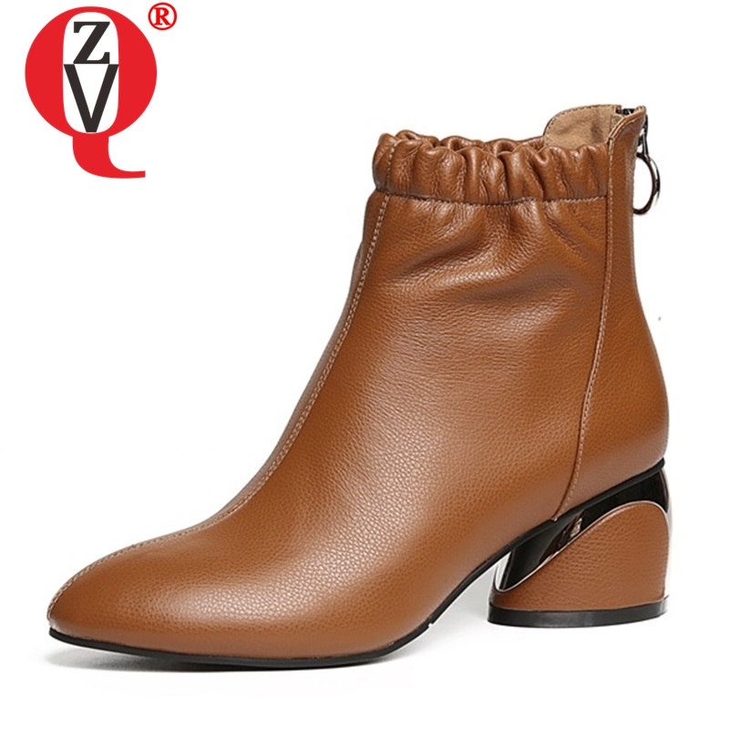 ZVQ shoes women 2019 newest hot sale genuine leather round toe high strange style zip meteal