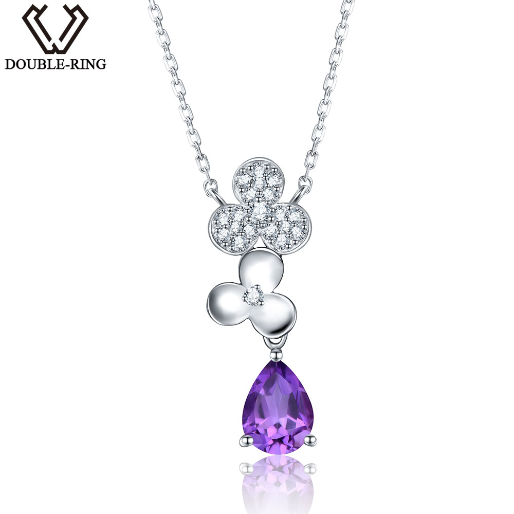 DOUBLE-R Elegant Classic 1.0ct Natural Amethyst Pendant Necklace Real 925 Sterling Silver Fine Wedding Jewelry For Women 2 3mm red natural agate necklace multi layers 925 sterling silver with real pearl fine womne jewelry wedding party necklace