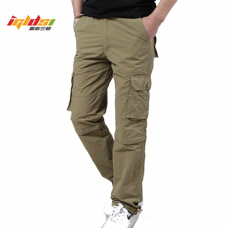 a416dce4189 Brand Men s Cargo Pants With Zipper Pockets Men 2018 Summer Fashion  Removable Khaki Trousers Male Casual