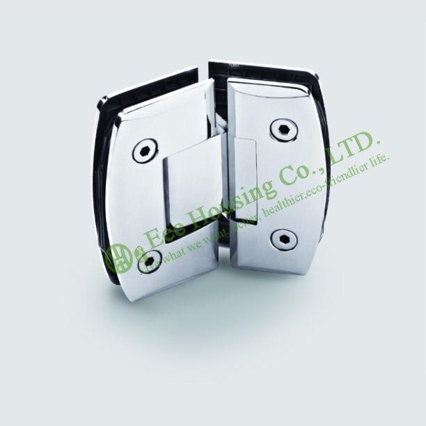 Bisagra de puerta de ducha de acero inoxidable de 135 grados, bisagra de puerta de vidrio de baño de 135 grados, abrazadera de vidrio acabado con espejo