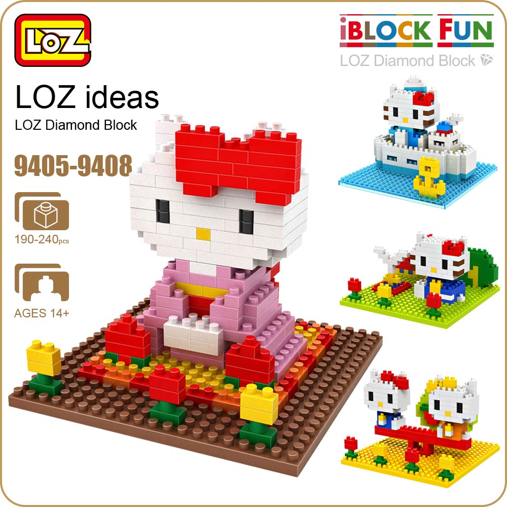 LOZ Diamond Blocks Cartoon Cat Plastic Assembly Toys for Girls Animal Action Figure Educational Mini Building Blocks 9405-9408 1500 2200 pcs big size plastic cute cartoon designs of mini nano blocks diamond mini block toys for children diy game