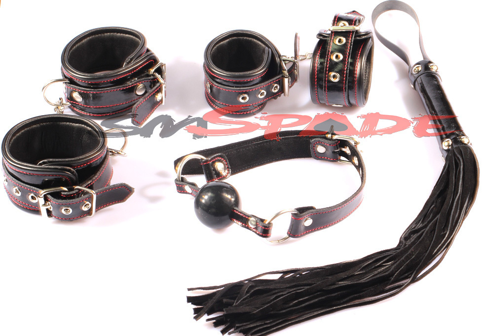 100% leather free shipping handcuffing kit restraint adult sex product for couples sex game leather hand cuffs leather whip genuine leather restraint kit hand