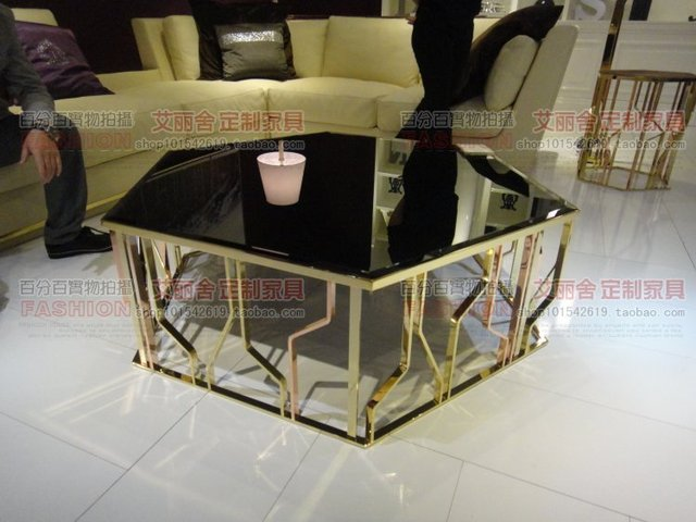 Rose Gold Stainless Steel Hexagonal Gl Coffee Table After Allen Modern Minimalist