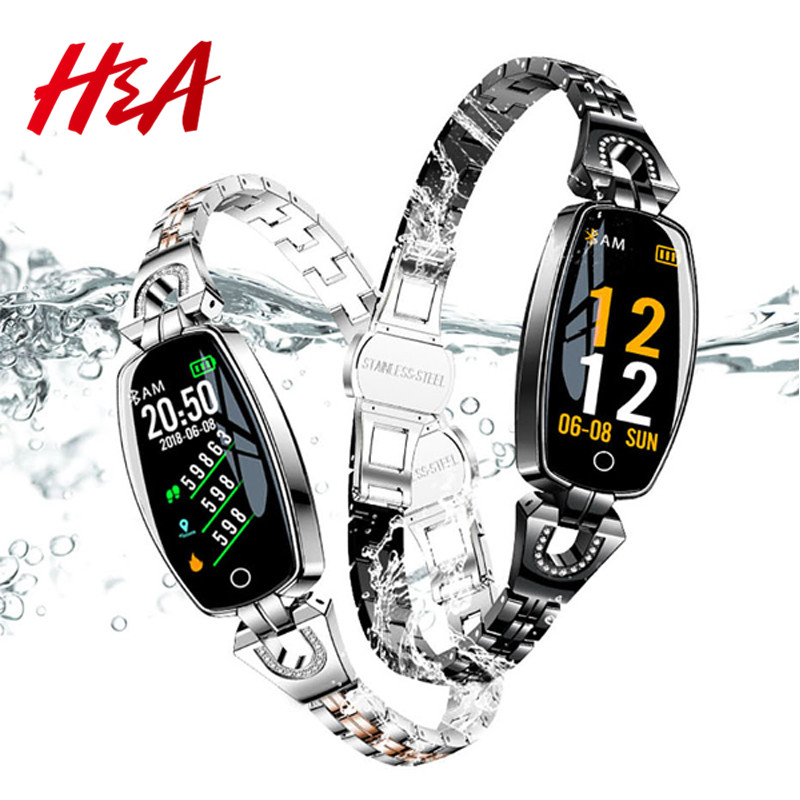 H & A H8 Pulseira De Fitness Esporte Relógio Inteligente 2019 Monitoramento da Freqüência Cardíaca Bluetooth Para iOS Android Smartwatch À Prova D' Água Mulheres presente