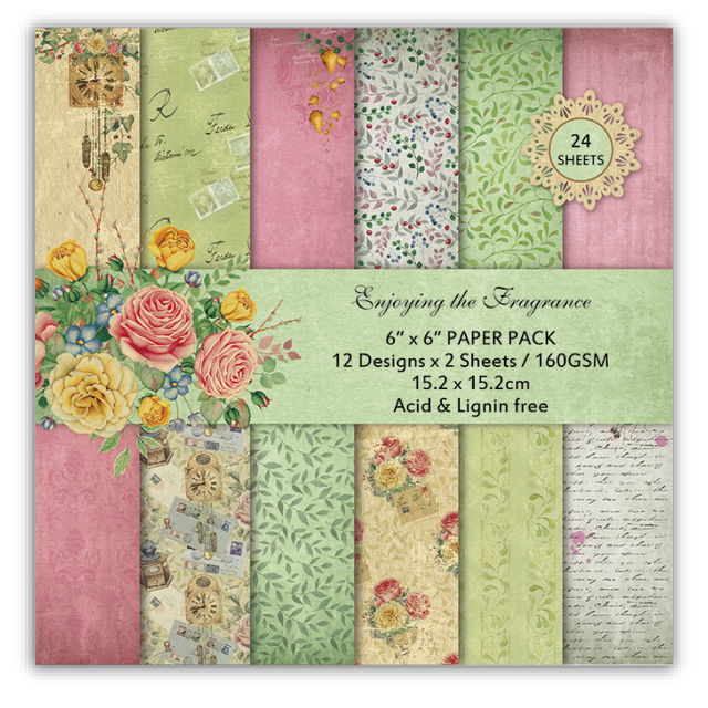 """New 6"""" Retro Enjoy The Fragrance Flowers Scrapbook Paper Origami Art background pad kit DIY Card Making Home deco gift crafts"""