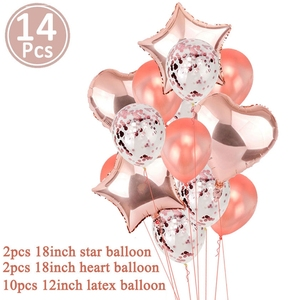 Image 3 - 14pcs Rose Gold Star Confetti Balloon Happy Birthday Decoration 1st First Birthday Boy Girl Party One Year Just Married Decor