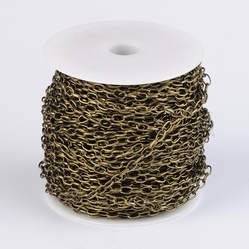 100 m/roll fer câble chaînes avec bobine bijoux à bricoler soi-même accessoires faisant collier Bracelet artisanat fournitures en gros