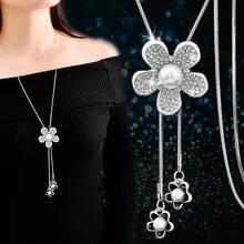 Стразы длинное ожерелье с цветком женские модные ювелирные изделия