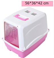Fully enclosed basin of cat litter The cat toilet ( double ) with grid Size : 56 * 36 * 42 cm