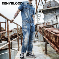 Denybloood джинсы мода Для Мужчин's Рваные Джинсы Комбинезоны High Street Distressed Denim Комбинезон для человека штаны с подтяжками 0301