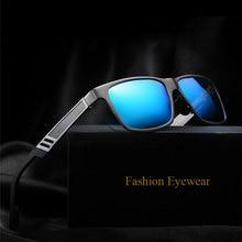 Квадратные поляризационные мужские солнцезащитные очки Брендовые дизайнерские очки HD линзы солнцезащитных очков алюминия и магния пилот металлический каркас UV400 зеркало мужской