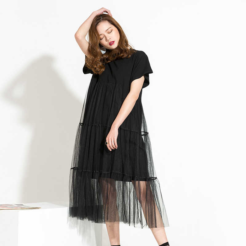 [EAM] 2017 autumn Trend New Large Size Long Big Size Net Yarn Spliced Black O-neck Short Sleeve Sexy mesh Dress Woman 5XL 3361