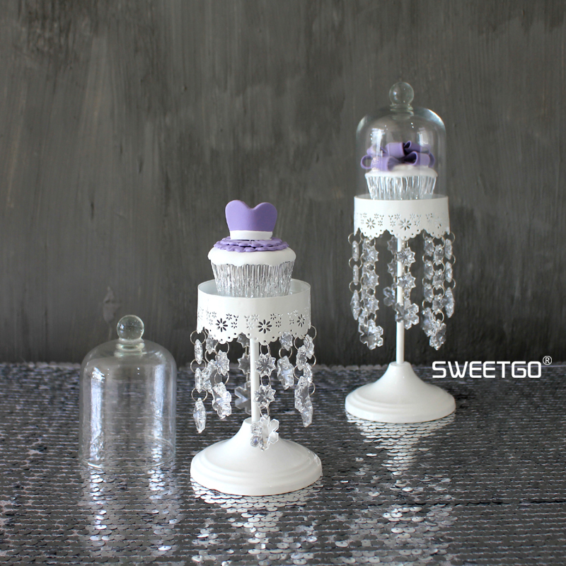 White Crystal Iron Mini Round Wedding Decorative Cake Stands Dessert Fruit Plates Pan with Glass Cover #1550420 & ?White Crystal Iron Mini Round Wedding Decorative Cake Stands ...