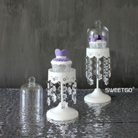 White Crystal Iron Mini Round Wedding Decorative Cake Stands Dessert Fruit Plates Pan with Glass Cover #1550420