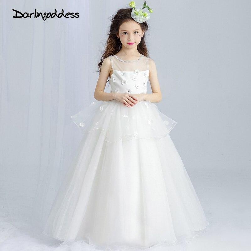 Princess White Ball Gown Flower Girl Dresses for Weddings 2017 Long ...