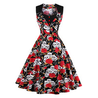 Sisjuly Women S Vintage Dress Black Floral Print Sleeveless Square Collar Knee Length Wear To Office
