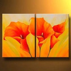 Ręcznie malowane obraz olejny pomarańczowy Callas-nowoczesny obraz olejny na płótnie Art dekoracje ścienne obraz olejny Wall sztuki