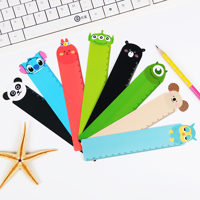 5 PCS New Panda Owl Straight Ruler School Child Stationery 8 Style 15cm Kawaii Animal Plastic Drawing Bendable Straight Ruler