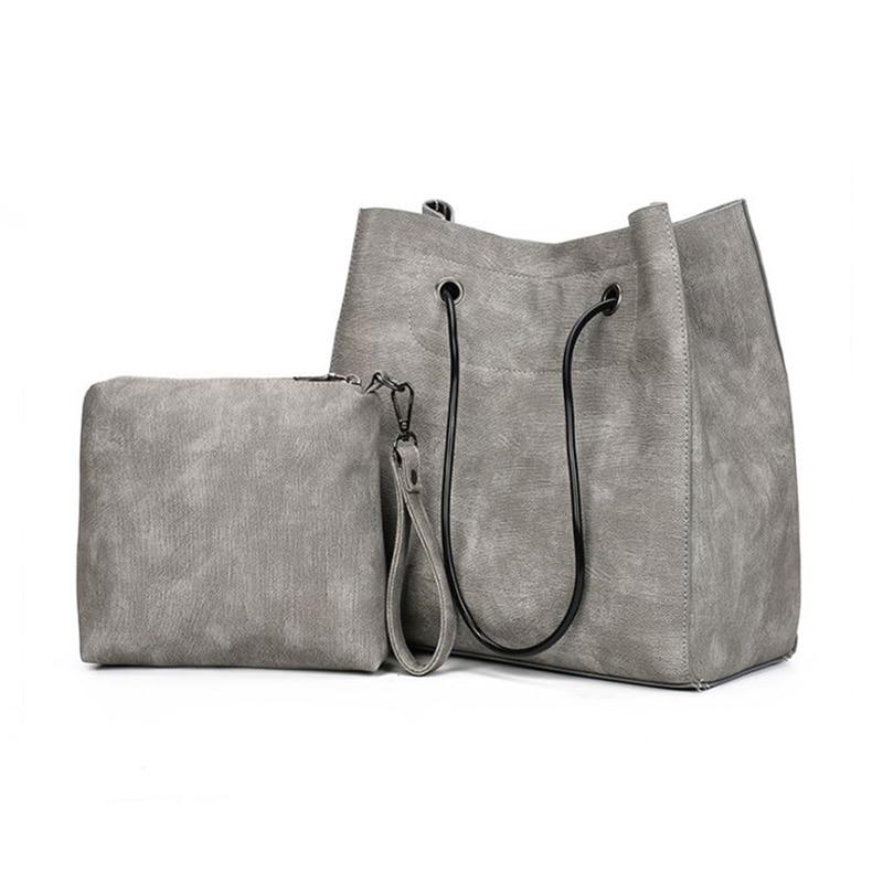 9c22443f84cbd العلامة التجارية مصمم دلو حقيبة المرأة حقيبة الكتف عارضة جلد حمل مركب حقيبة  كبيرة قدرة المرأة