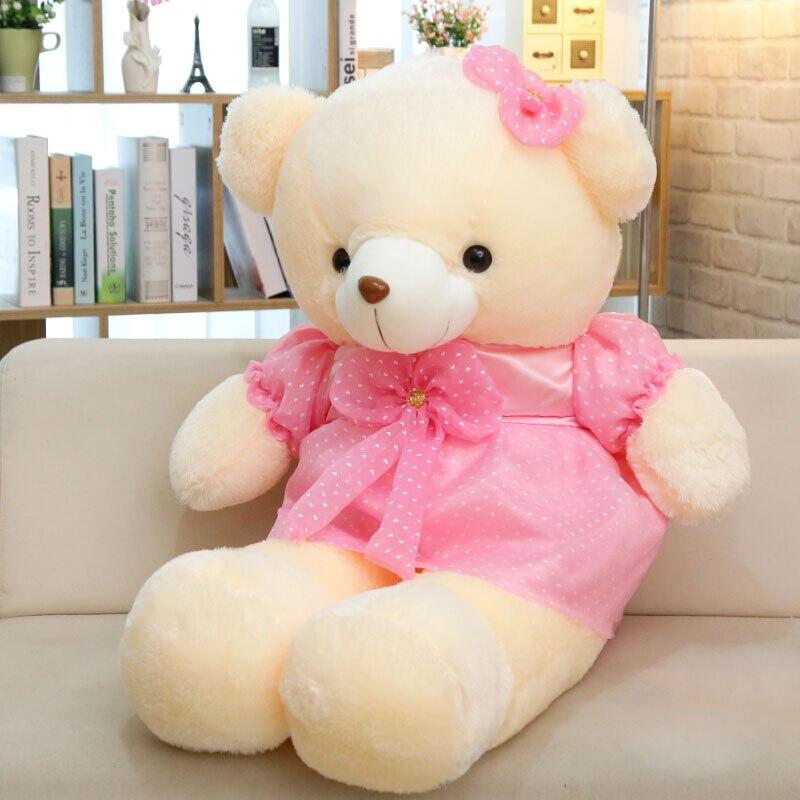 Bella white bear in rosa cappotto peluche grande 110 cm orso