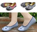 Best Seller High Quality Womens Canvas Shoes Shallow Round Toe Flat Shoes Personalized Cute Lovely Cat Striped Girls Shoes