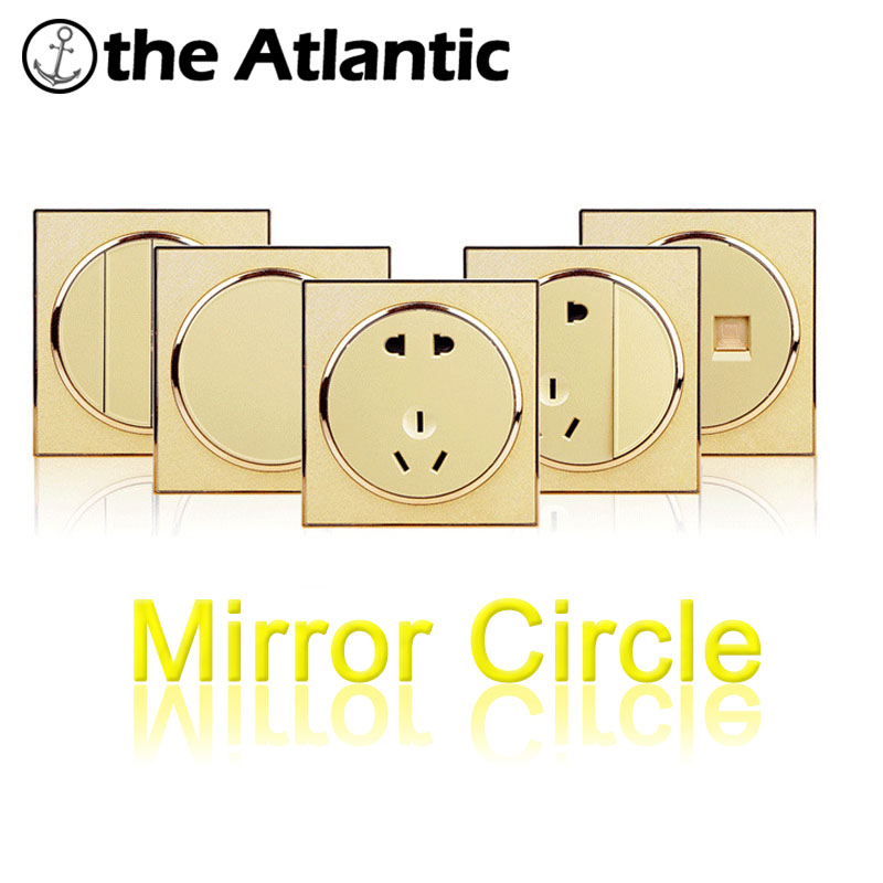 Atlantic Mirror Circle Light Switch, Wall Switch AC 110~250V Interrupteur 10A Wall Switches Big Push Button All Type StandardAtlantic Mirror Circle Light Switch, Wall Switch AC 110~250V Interrupteur 10A Wall Switches Big Push Button All Type Standard