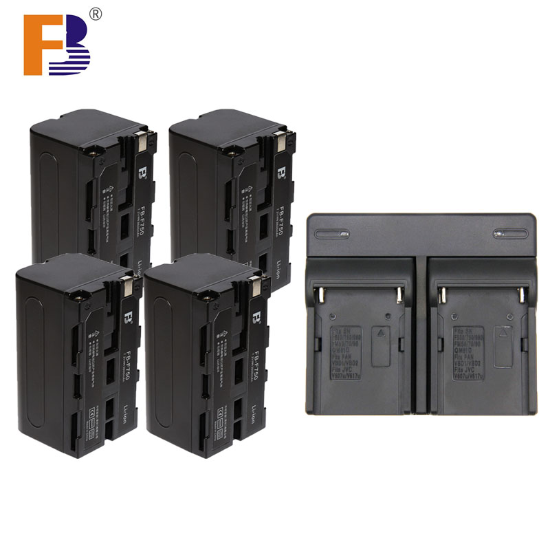 4 Pcs High Capacity 4400mAh F750 F770 F730 Camera Rechargeable Battery + double Charger for Photographic Light For Sony