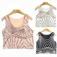 Stripe Bead Cute Sequin Tank Top Women Fashion Mesh Back Short Vest Sequins Crop Tops Slim