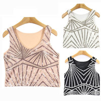 Stripe Bead Cute Sequin Tank Top Women Fashion Mesh Back Short Vest Sequins Crop Tops Slim