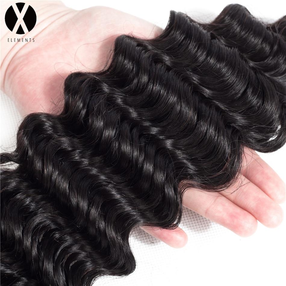 X-Elements 100% Mänskligt Hår 4 * 4 Snörning Snörning Brasilian - Mänskligt hår (svart) - Foto 4